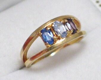 sz 5.5 14k gold topaz aquamarine and amethyst 3 stone double ring band