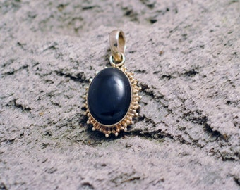 size medium Oval beaded black onyx / agate gem solitaire necklace pendant 925 sterling silver #fun
