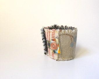 Fiber Art Cuff Bracelet, Handmade Bracelet, One of a Kind