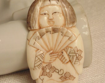 Vintage Hand Carved Asian Girl with Fan Pendant Hand Carved Bone Vintage Bone Chinese Export Japanese Oriental