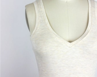Simple Reversible Tank Top - Heather Almond Bamboo Eco stretch jersey camisole - Underlayer / Layering piece - New basics collection