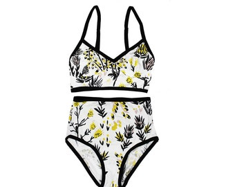 Thistle Bralette and Underwear Set in Pale Pink, Ochre and Black on White