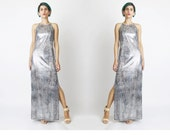 1990s Bodycon Maxi Dress Metallic Stretchy Silver Evening Gown Snakeskin Dress Python Reptile Print Dress Party Dress (XS/S)