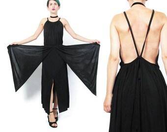 Black Draped Dress 1990s Designer Dominic Rompollo Dress Avant Garde Jersey Dress Goth Goddess Peplum Panels Strappy Backless Dress E260