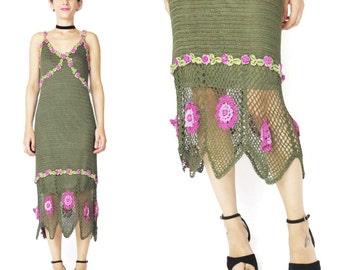 1990s Crochet Knit Dress Crochet Floral Dress Peek a Boo Cut Out Dress Sheer Hem Forest Green Knit Dress Strappy Hand Knitted Dress (S/M)