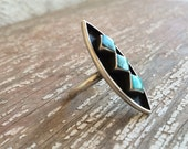 Vintage turquoise silver Native American shadowbox long ring size 6.75, vintage Native American Indian turquoise and silver ring, Old Pawn
