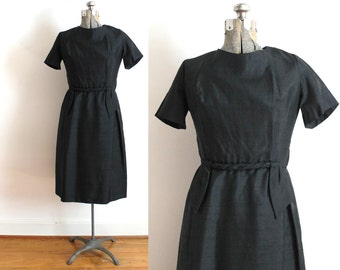 60s Little Black Dress / 1960s Black Silk Wiggle Dress