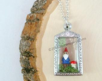 Gnome and Toadstool Terrarium Necklace