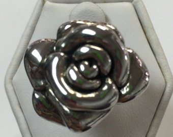 Sterling Silver Rose Style Band Ring Size 6 1/2