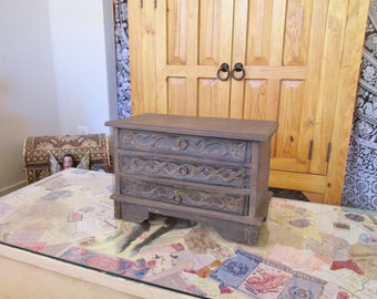 """Vintage 14"""" Rustic Painted & Carved Wood Small Chest of Drawers or Jewelry Box from Mexico ~ Dovetail Construction ~Southwest Hacienda Decor"""