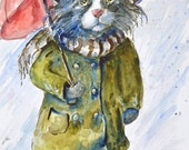 Comical Watercolor Kitty Cat Art Print by Maure Bausch