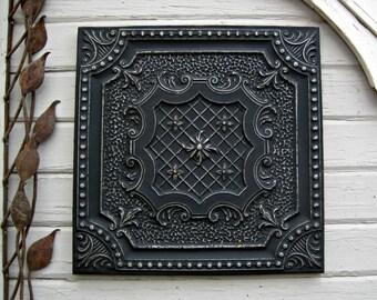 Antique Ceiling Tile. 2'x2'  Antique architectural salvage.  FRAMED Metal Wall Decor. Industrial Distressed black vintage tin tile.