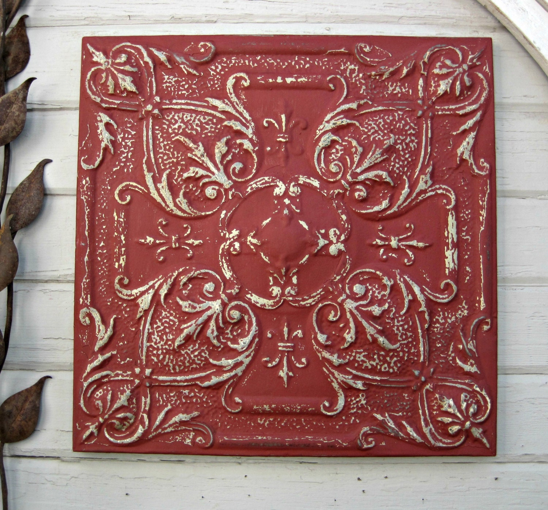 Antique Ceiling Tin Tile Framed Large Red Metal Wall Art