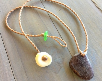 Root beer brown seaglass mermaid friendly necklace