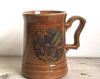 Antique Treacle Glazed Mug Rural Village Scene Brown Luster
