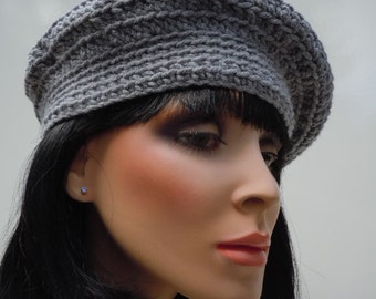 Beret, French Beret, Grey Hat, Grey Beanie, Crocheted Hat, Light Grey Cap