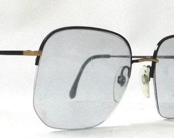 vintage 1980's NOS viva eyeglasses oversized square black gold metal frames prescription womens mens eye glasses eyewear italy half rimless