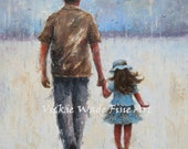 Father and Daughter Art Print, dad daughter paintings, walking with dad rain wall art, father's day  Vickie Wade Art