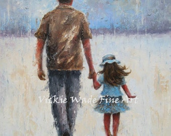 Father and Daughter Original Oil Painting 12X16, dad daughter paintings, walking with dad rain wall art, father's day  Vickie Wade Art