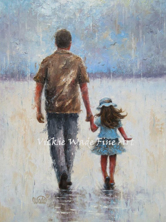 father and daughter original oil painting 12x16 dad daughter