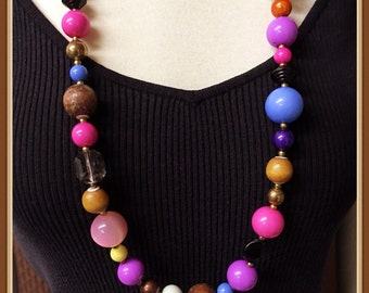 Vintage Multi Color Necklace, Various Shapes, Summer, Seasonal, Long Length, 36 inches, 1960's