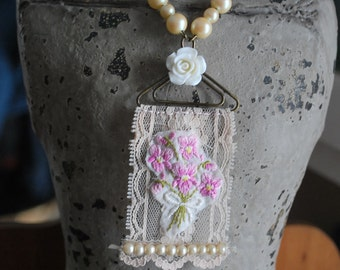 Mixed media assemblage wearable art vintage lace embroidery pearl pendant necklace
