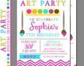 Art Party Invitation - Paint Party Invitation - Craft Party Invitation - Digital File