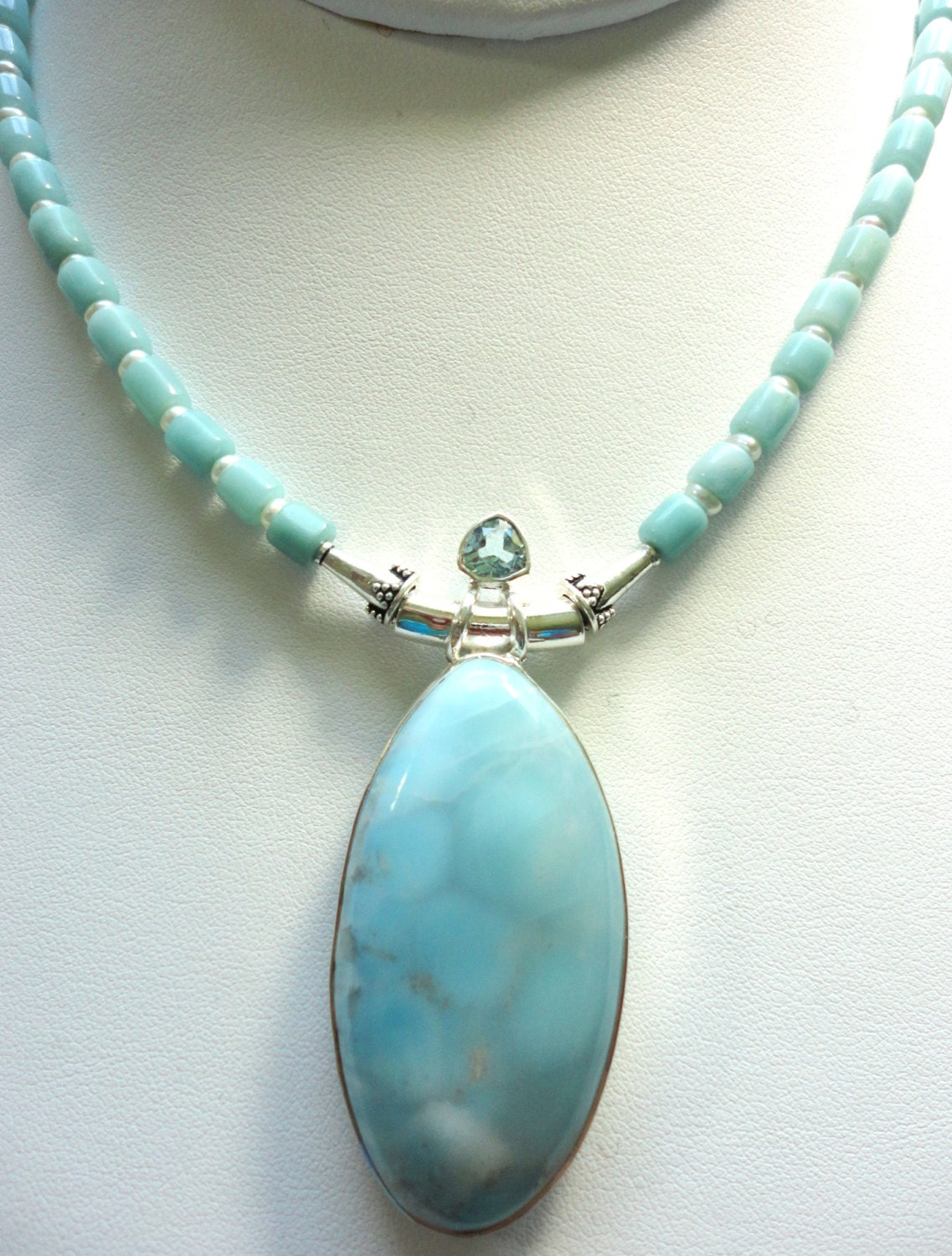 larimar pendant large larimar necklace with by designsbydianer