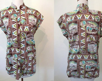 "ON HOLD Tiki time 1950's Hawaiian ""tea-timer"" blouse coconut buttons by Kilohala of Hawaii Rockabilly vlv vintage Hawaiian size Small"