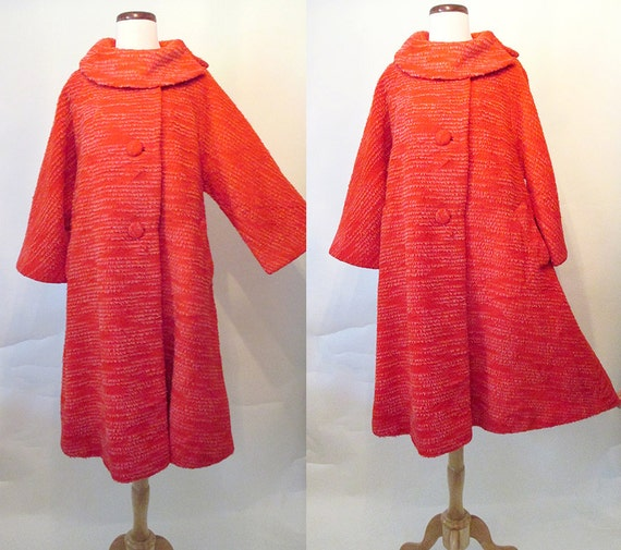 "Killer 1950's ""Lilli Ann"" Red Swing Coat with Dramatic Collar Rockabilly Pinup Girl VLV Vixen Chic Classic Dolman Sleeves Size-Large"