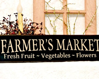 Farmers Market - Primitive Country Painted Wall Sign, Farm Sign, Wall Hanging, Housewarming gift, New Home gift, Farm Decor