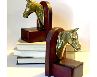 Brass Horse Bookends, Vintage Brass Book Ends, Horse Head Bookends, Vintage Horse Bookends, Vintage Brass Horse Heads, Vintage LIbrary