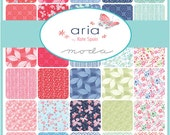 """ARIA Charm Pack - Kate Spain for Moda - 5"""" Inch Precut Fabric Squares - Floral Charm Pack - Bright Cheerful Fabric Butterflies"""