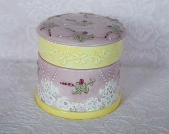 TRINKET JEWELRY BOX Keeper Ceramic 3 Piece Lidded Embossed Fake Lace Pink Rose Victorian Style Yellow Raised Design Dresser Vanity Display