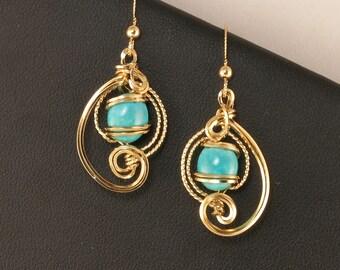 Turquoise Gemstone Gold Wire Sculpture Earrings, Unique Wire Art Assymmetrical Earrings