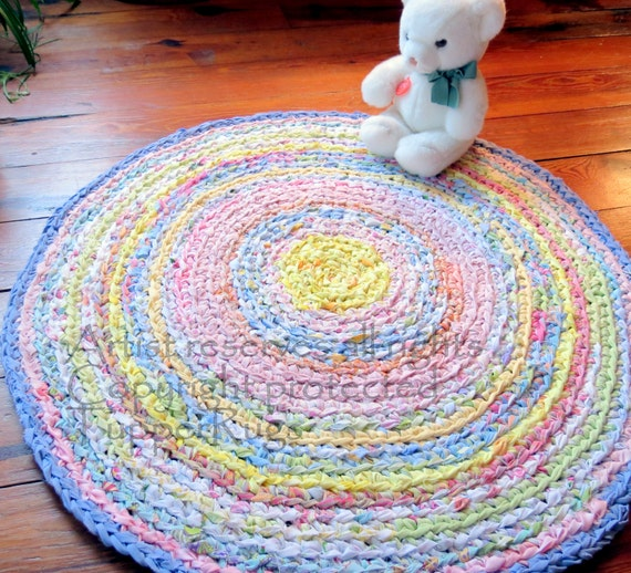 Handmade Crochet Rug Pink Rug Pink Carpet Nursery: Rag Rug Round Rug Area Rug Nursery Rugs Shabby Chic By