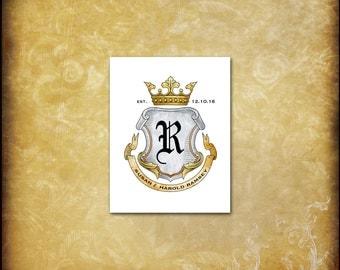 Monogram Crest Note Cards / Renaissance Silver Gold Bronze / Wedding Anniversary Crown Shield Banner Coat of Arms Heraldry / 10 Unique Cards