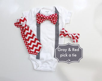 GRAY & RED Chevron Dot Baby Boy Tie and Suspenders Outfit. Snap on Bow tie bodysuit or shirt. toddler baby boys clothing grey
