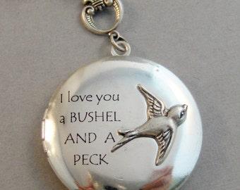 Bushel and Peck,Sparrow Necklace,Sparrow,Bird,Bird Necklace,Art Locket,I love you,Antique Locket,Nature,Woodland,Love You,Bird Locket,Bird
