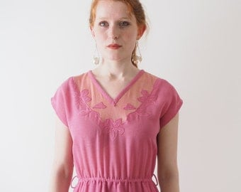 Lamballe, peony pink vintage dress, Japan, small - medium