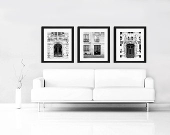 Paris Print Set, Black and White Paris Photography, Doors, Paris Door Photos, Set of 3 Prints, Travel Photos
