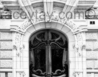 Paris Print, Door, Black and White Photography, Art Nouveau Door, Architecture, Paris Photography