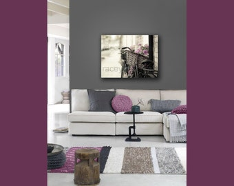 Paris Decor on Canvas- Bicycle Print- Large Wall Art Canvas- Neutral Rustic French Decor Beige Pink Gray