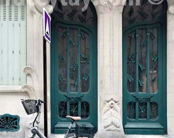 Paris Door Print, Teal, Green, Art Nouveau Door, Architecture, Bike Print, Paris Photography Large Wall Art