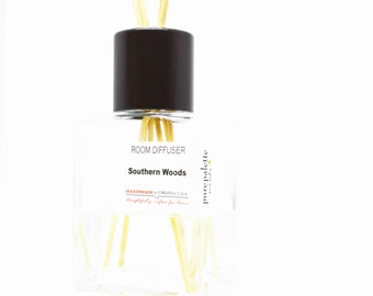 Reed Diffuser Oil - Southern Woods Room Diffuser Oil Square Vase, Natural Dyed Reeds