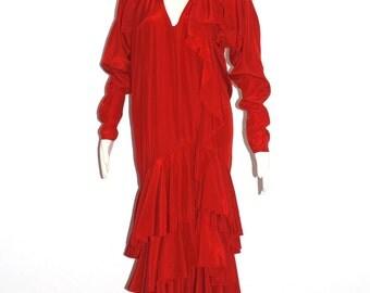 Vintage NORMA KAMALI Red Dropped Waist Ruffle Maxi Dress