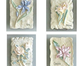 Shabby Chic Flower Plaque 3d Flower Wall Decor 1 Flower Wall Hanging Flower Wall Art Floral Art Floral Plaque 3d Flower Art Bedroom Bathroom