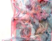 Hand painted silk scarf-Rosebuds in Mist-blue pink scarf-luxury silk shawl-chiffon scarf-18x72inch