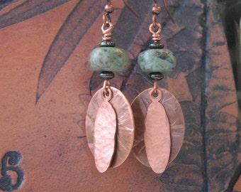 Earrings- handcrafted earrings-dangle copper and turquoise earrings-turquoise hemetite and copper earrings
