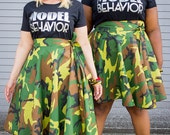 "Camouflage High Waist Wrap Skirt ( 2 - 24 ) Choose your length  25"" L , 30""L"
